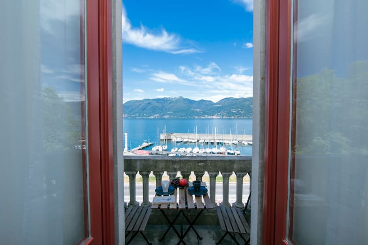 Door to the balcony with a view of the lake