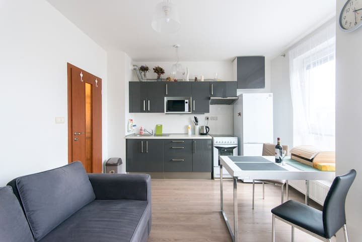 Sunny, 30m2 FLAT, with box spring bed, Prague 10