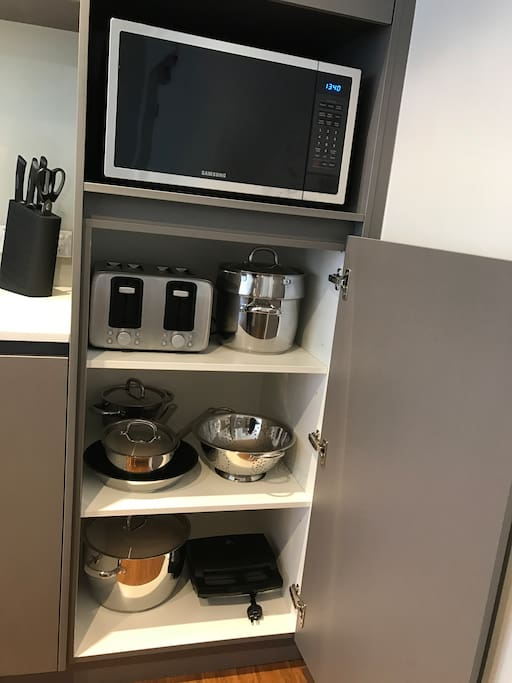 Functional kitchen applicances included.