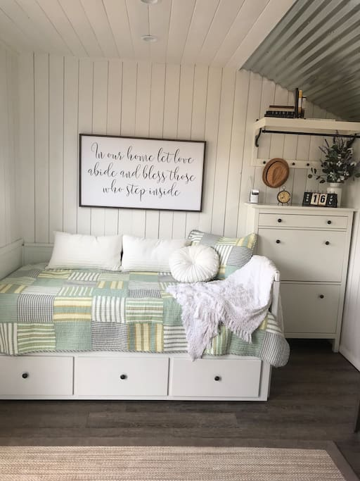 """""""The bed in the Shed"""" This is a twin bed that pulls out into a full bed. #TheBedInTheShed"""