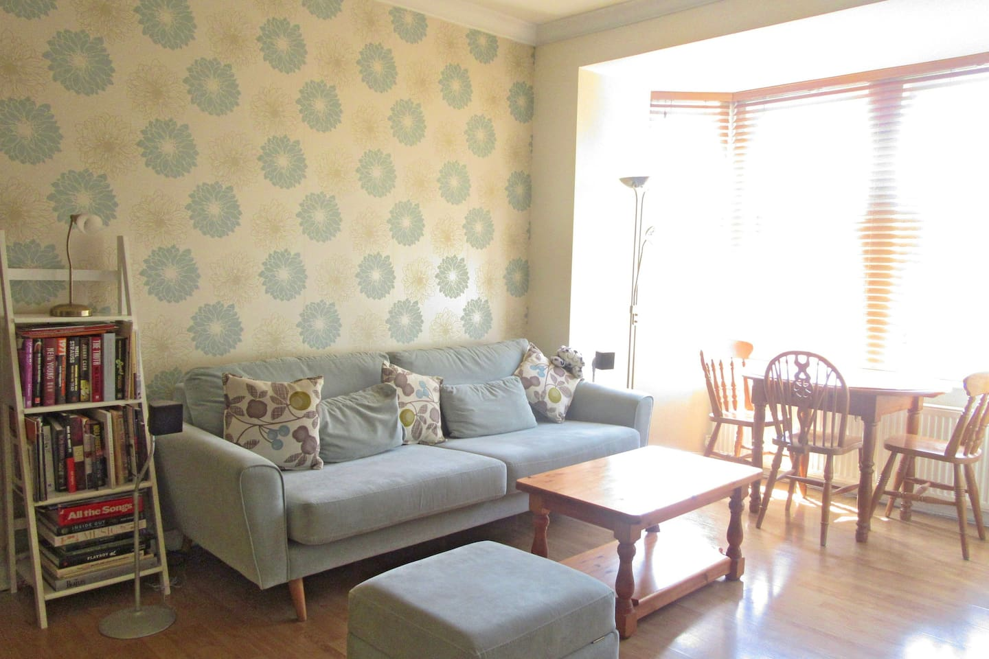 Here you can see just how bright and airy the living room can be with the blinds open on a lovely summer's day.