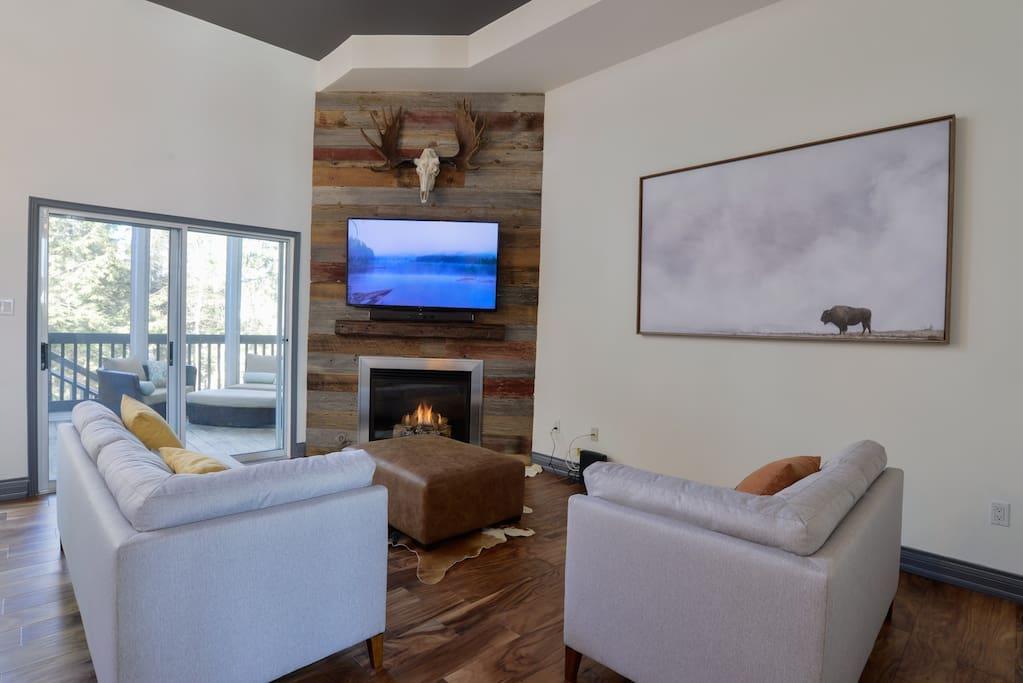Living Room with the Fireplace #taboo51 Taboo Resort Muskoka
