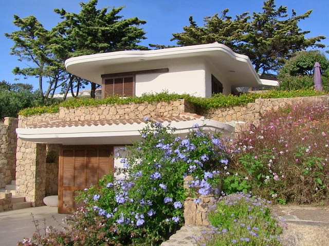 Attractive cottage surrounded by Mediterranean plants with two partly covered, low-walled terraces with furniture
