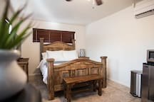 Handcrafted solid wood furniture. Carefully chosen memory foam mattress and sheets will have you wishing you could take them home.