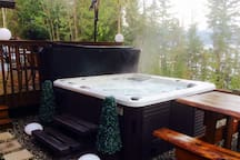 Enjoy the hot tub even if the weather turns!