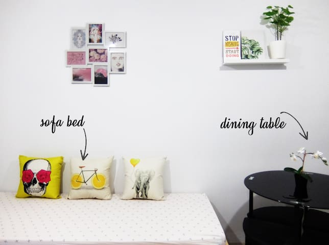 Sofa bed / stackable bed  Dining table include 4 benches