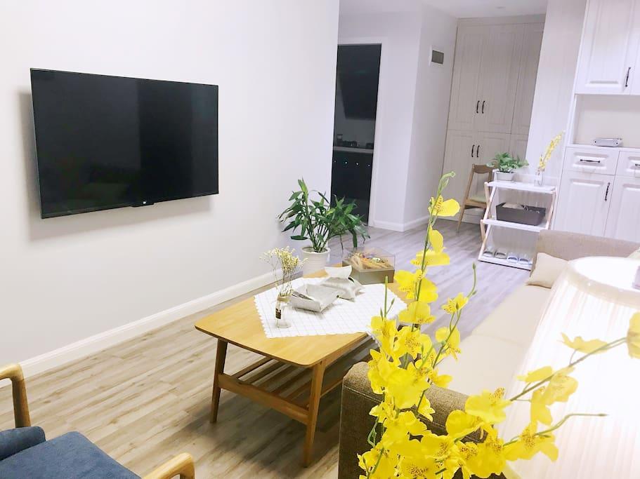 49寸的小米超薄液晶电视,客厅也配了一个格力空调。