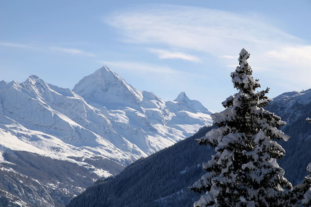 Unabridged & breathtaking views of Dent Blanche and the famous Matterhorn from our balcony.