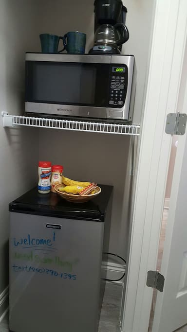 Amenities in the room include a coffee maker, microwave, and mini fridge. Snacks and light breakfast foods included - usually fresh fruit too!