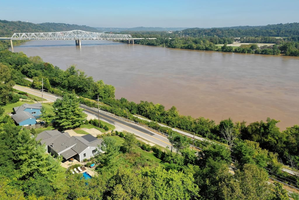 Private 2-acre property surrounded by forest and a robust view of the Ohio River