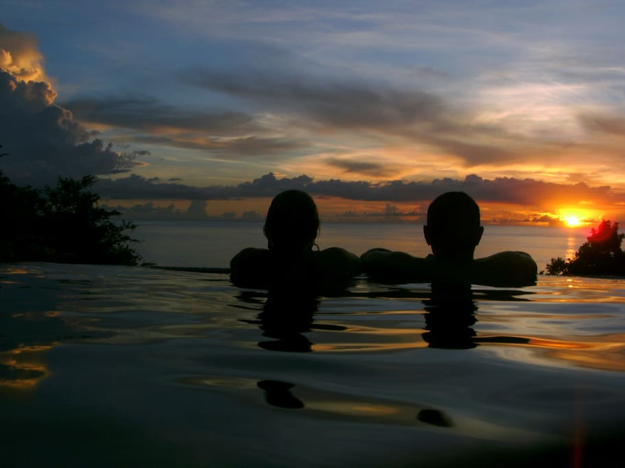 Enjoy sunset from the pool