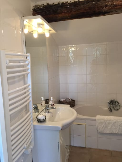 Our private bathroom has both a self contained shower and a separate bath - please see the other photos as it is difficult to photograph in one go because they are on different sides of the same room!