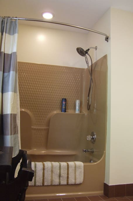 Body wash and shampoo available. New Delta shower head with multiple configurations of spray.