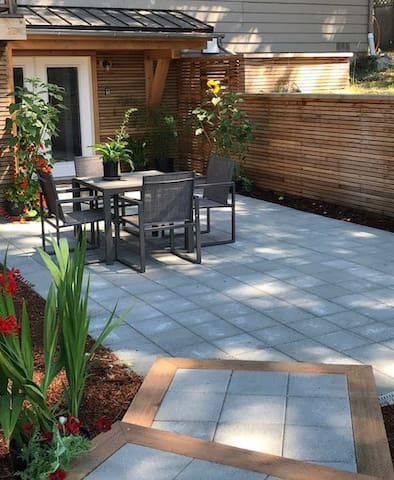 Located on the lower level of the Farm House, our patio is shady and serene