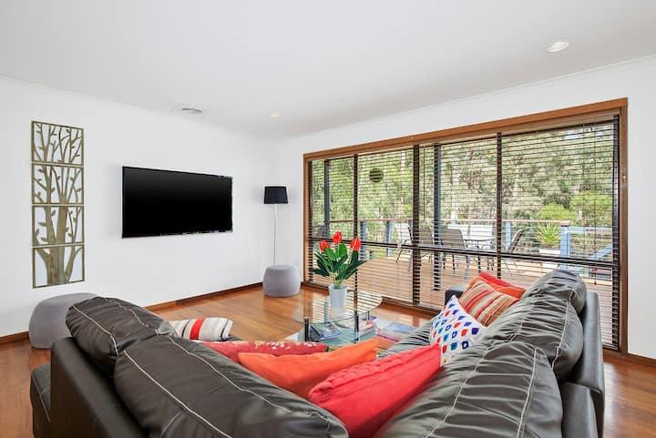 Serenity-2 living areas-decks-fireplace-wifi-pets