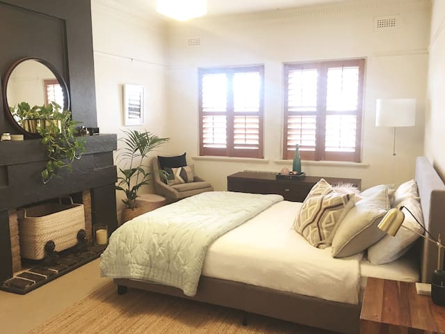 Master bedroom with queen bed **This bedroom only available when booking entire apartment**