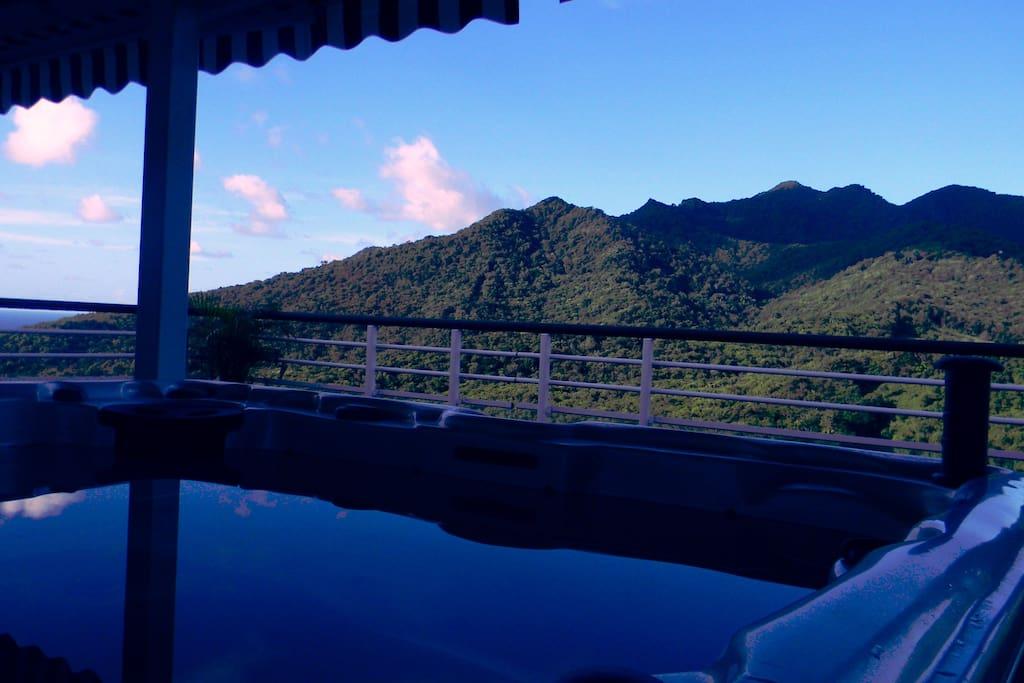 Vue exclusive sans vis à vis. Relaxant après une randonnée à la Soufrière ou aux Chutes du Carbet.
