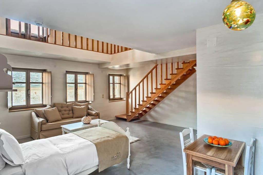Ο κοινόχρηστος χώρος με το μονό κρεβάτι τον καναπέ που γίνετε διπλό κρεβάτι και την κουζίνα.