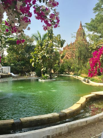Bagan Step, Green Private Residence, river temple