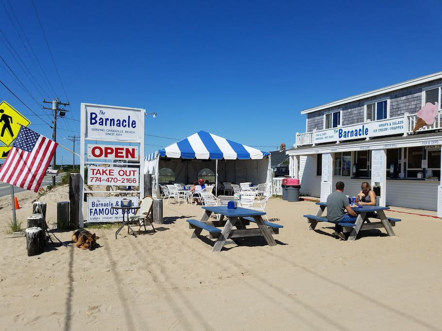 The Barnacle. A seaside shack to grab some lunch or ice cream. across the street from Craigville Beach!