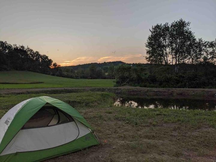 Hebron campsite on a peaceful pond.