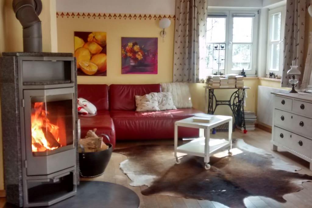 Gemütliches Sofa mit Holzofen zum Relaxen