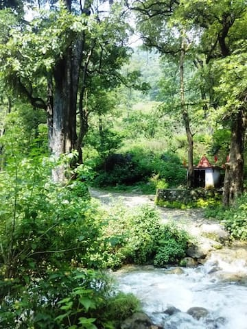 small temple near rishikesh valley water fall