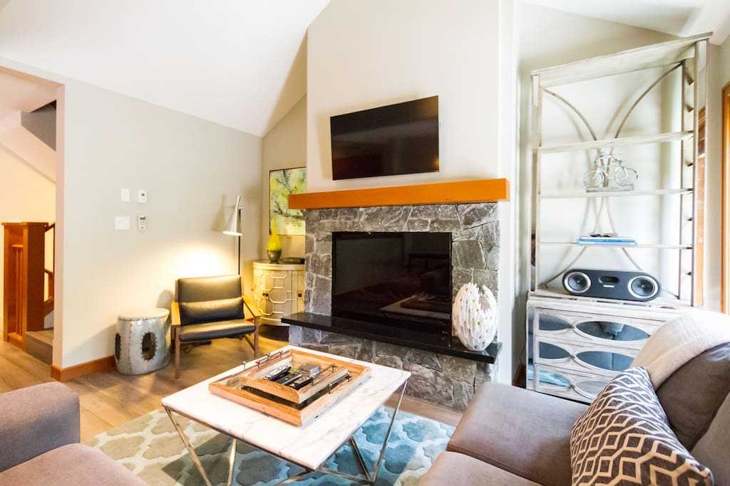 Gorgeous living area with gas fireplace