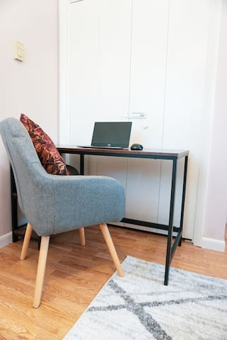 Office Space with Full-Size Futon Sofa