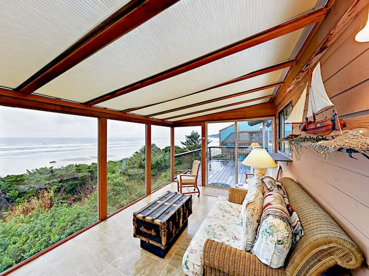 Beachfront Home with Fireplace, Sunroom & Deck