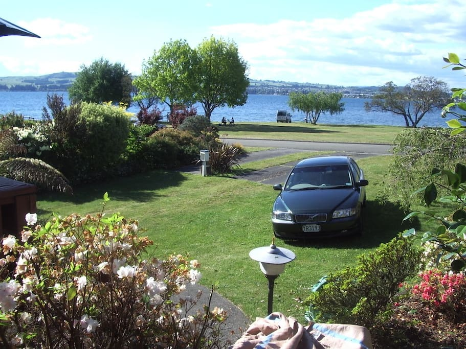 North West, from front deck to Taupo township.