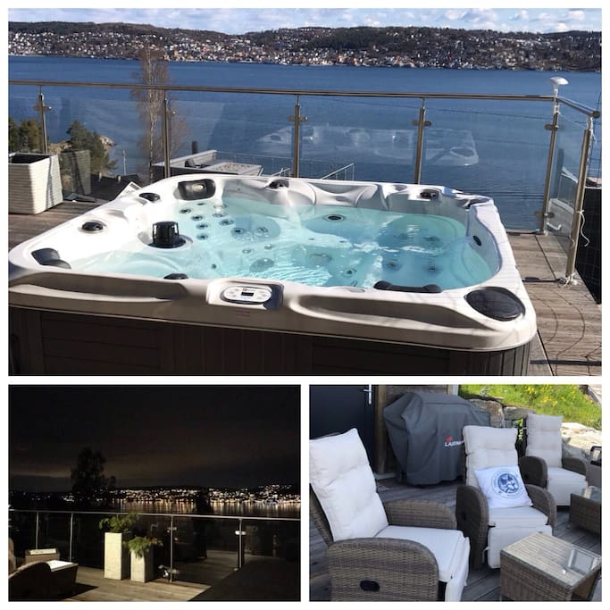 Deilig å ligge i jacuzzien å slappe av mens båttrafikken seiler forbi i Oslofjorden. Fantastisk utsikt fra jacuzzien og terrassen i 1 etasje.