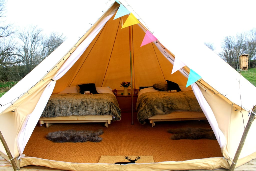 The tent can be configured as two doubles, four singles or a double and two singles