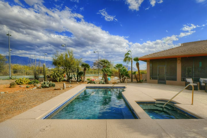 Family-Friendly Desert Gem w/ a Private Pool & Spa, Tennis Court, & Great Views!