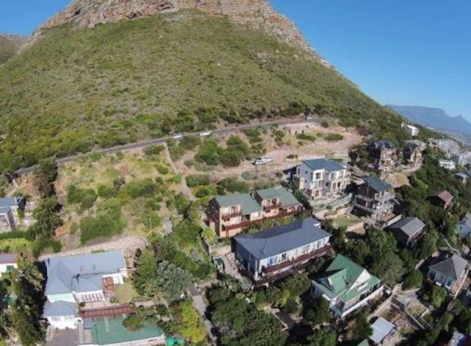 Arial view of our house on the mountain