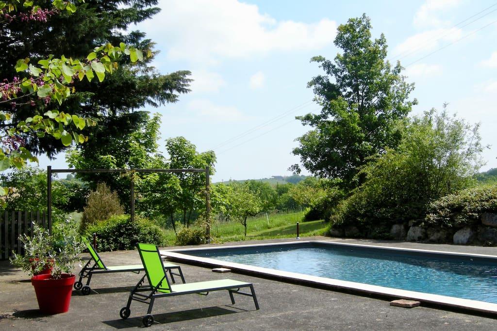 Une piscine de 12x5.