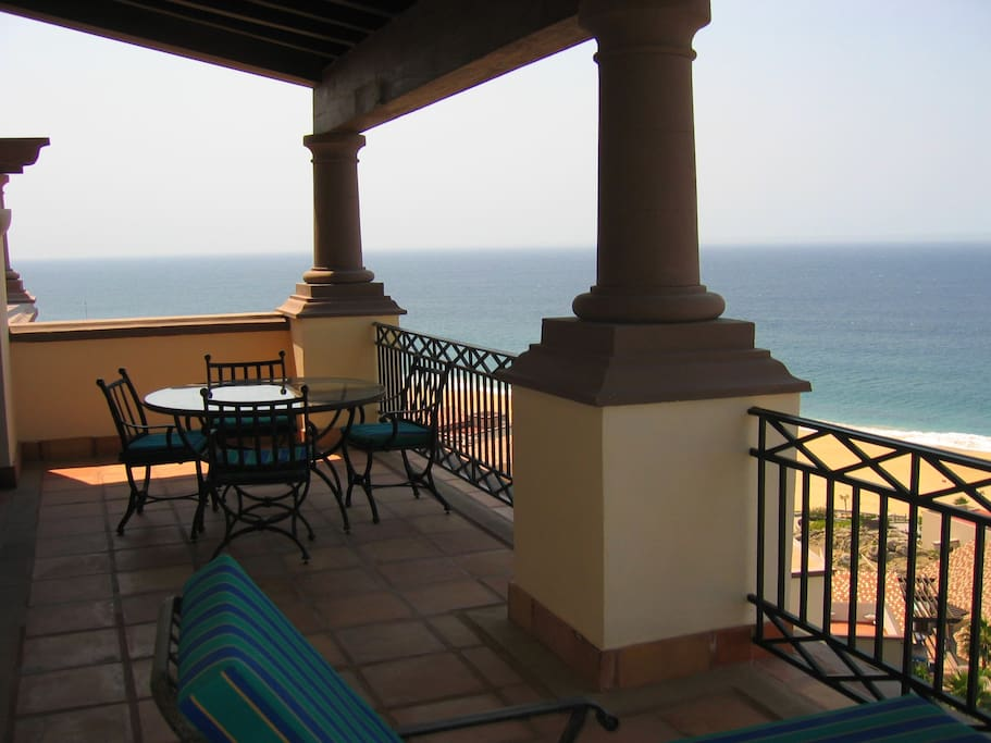 Panoramic views from large deck off of living room and bedroom with great views.