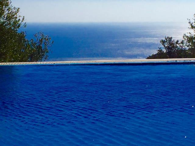 Blick vom großem Pool zum Meer in einer Felsenlandschaft mit tropischen Pflanzen.