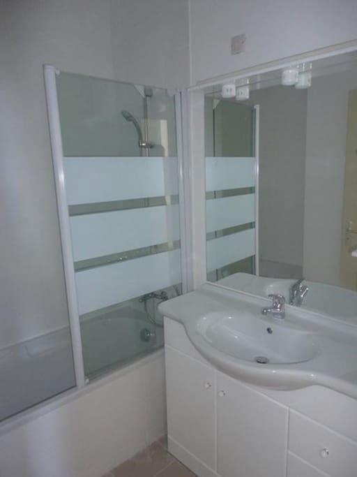 The bathroom will have either a shower or a bath tub.