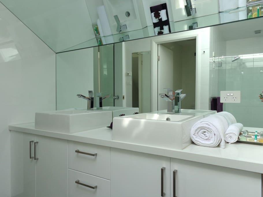 Bathroom with twin vanity