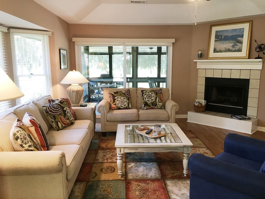 Comfortable seating living room with High Def T.V. package