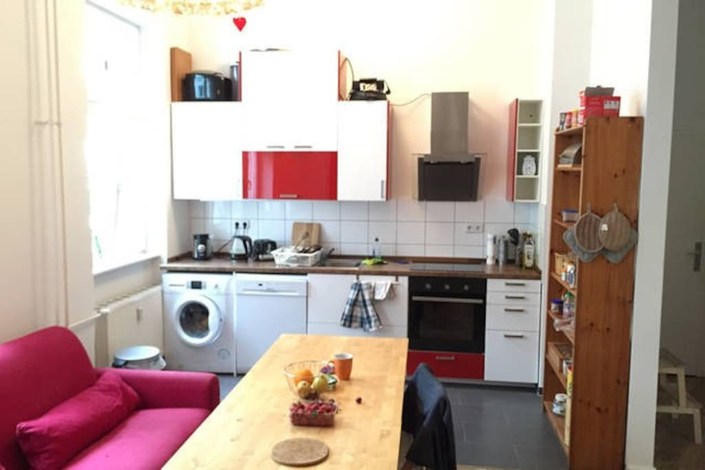Large, fully equipped kitchen/living area