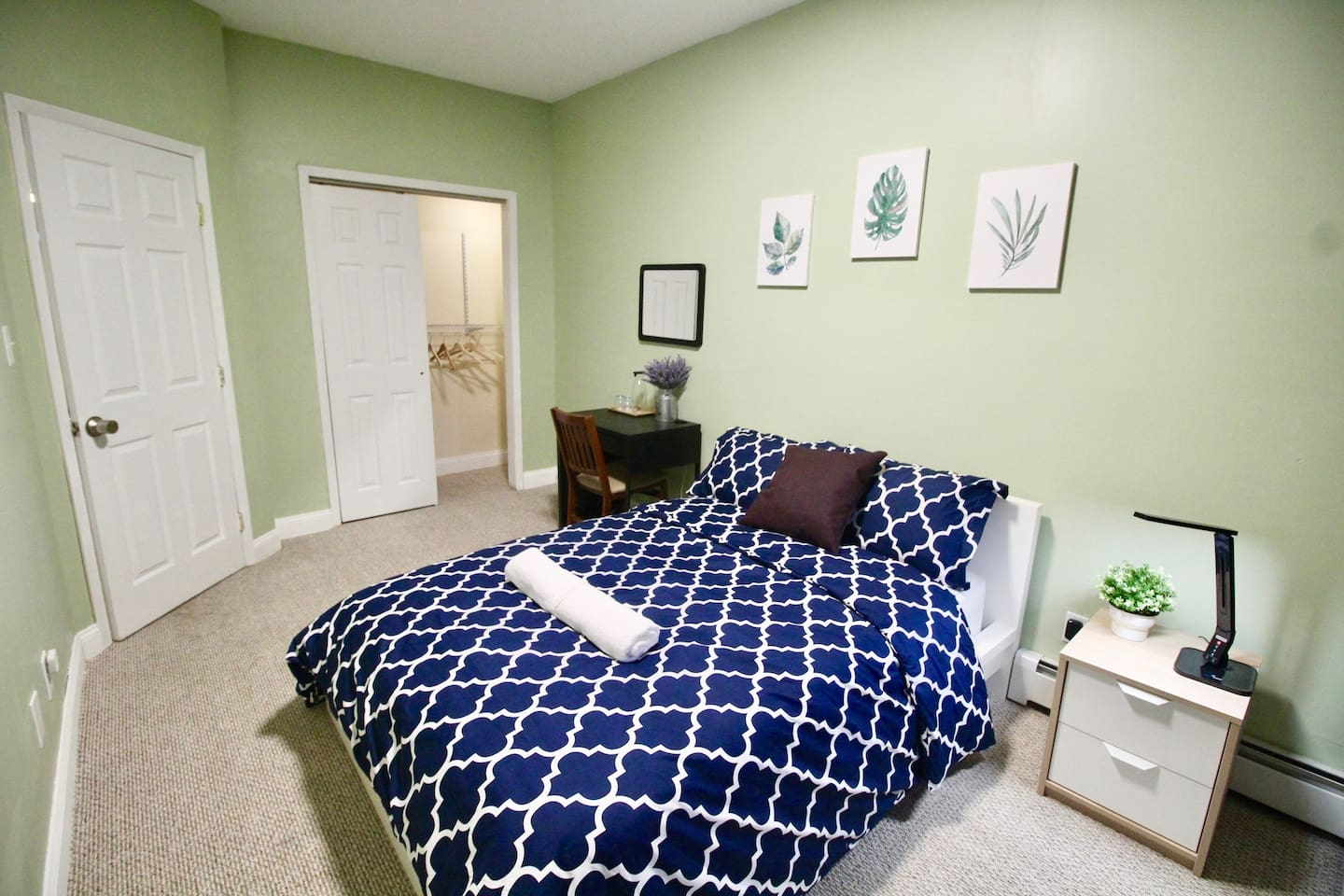 Beautiful Bedroom with Full Size Bed, Workplace Desk, Lamp and Big Closet