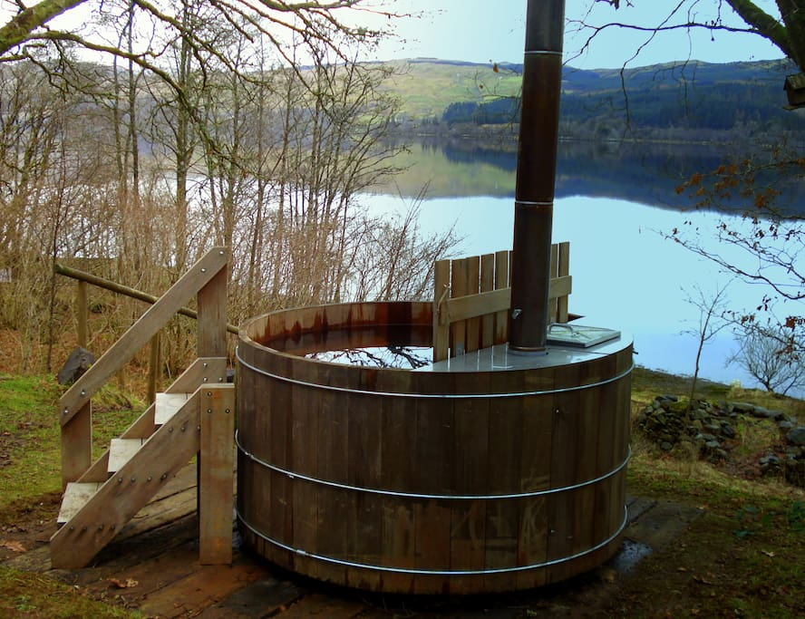 Wood fired hot tub with a view