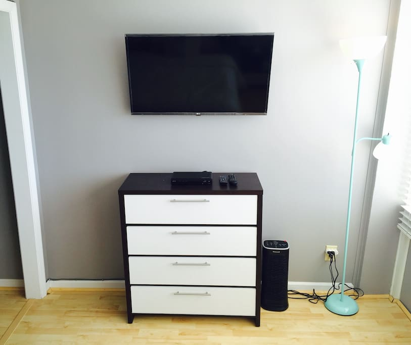 """A 40"""" TV with HD cable available in the bedroom."""