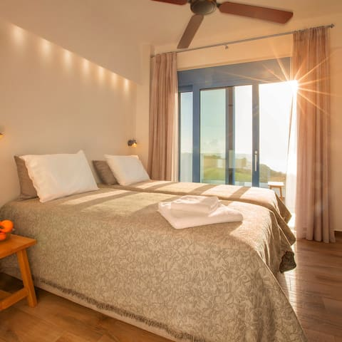 Room 'Sunrise' in the Villa Thalassa in Triopetra - kingsize double bed can be separated or joined together