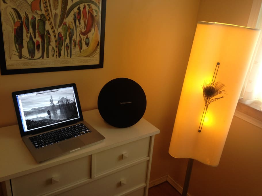 """Enjoy Bluetooth or wired connection to your phone or laptop with a lovely sounding Harmon Kardon """"Onyx Studio 3"""" plug in wall or use around the apartment on its battery for up to 4 or 5 hours."""