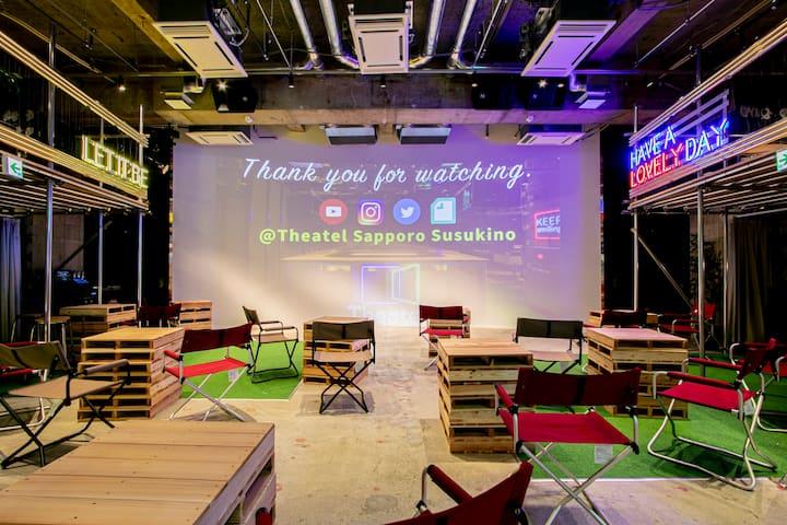 【Theatel Sapporo Susukino】 Theater × Hotel ★ Next-gen entertainment hotel <Single smart capsule / Unisex>