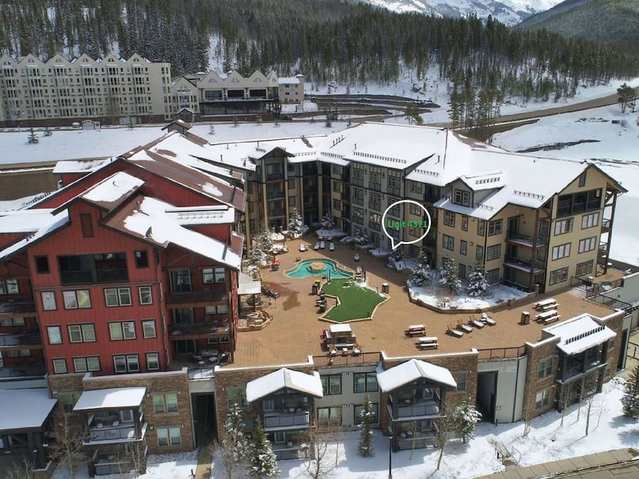 Aerial view of Founders Pointe looking back from just above WP Resort