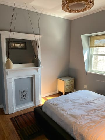 Bedroom with Queen size platform bed for 2.
